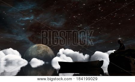 Landscape under the Milky way. Elements of this image furnished by NASA. 3D Illustration