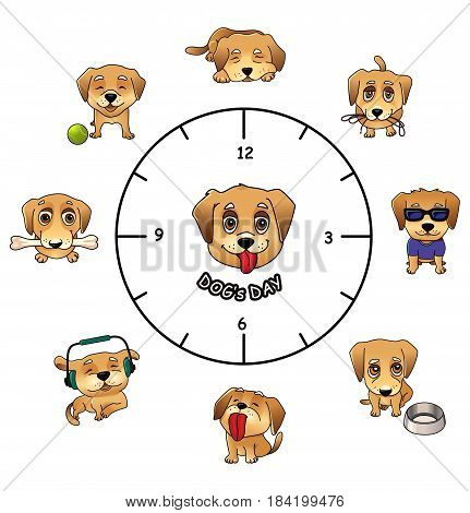 Dogs daily routine funny infographics, vector illustration of cute labrador puppy , activities during day, sleeping, walking, feeding and relaxing