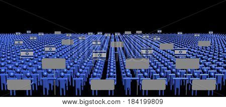 Crowd of people with signs and Israeli flags 3d illustration