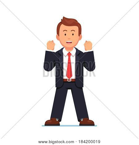 Smiling and determined business man celebrating his successful victory expressing yes gesture in satisfaction with both hands clenched fists while standing confidently. Flat style vector illustration