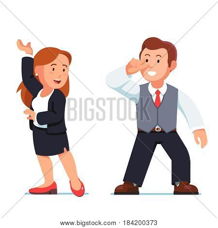 Dancing business people man and woman. Flirting happy young managers making swift loving tango or salsa moves. Modern flat style vector illustration isolated on white background.