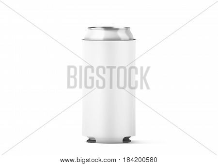 Blank white collapsible beer can cozy mock up isolated for 500 ml 3d rendering. Empty neoprene cooler holder mockup for tin beverage. Plain drinkware hugger design template. Clear soda sleeve