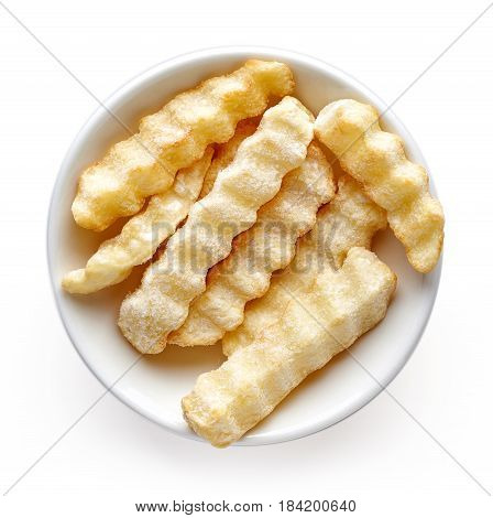 Bowl Of Frozen French Fries Isolated On White, From Above