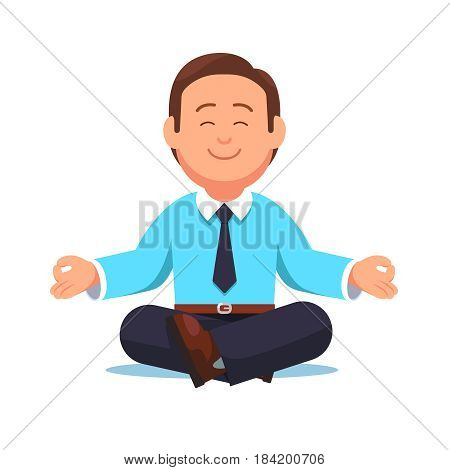 Business man sitting in the padmasana lotus pose. Office worker meditating, relaxing or doing yoga after stress and hard work day. Flat style modern vector illustration isolated on white background.