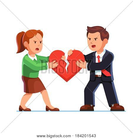 Angry man and woman standing opposite each other and tearing red heart in halves. Love relationship problems. Divorce concept. Flat style modern vector illustration isolated on white background.