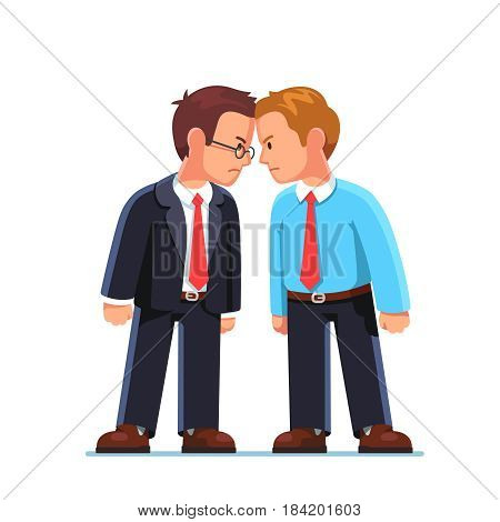 Business men standing head to head arguing and staring at each other. Work conflict between office workers. Fight for leadership. Flat style modern vector illustration isolated on white background.