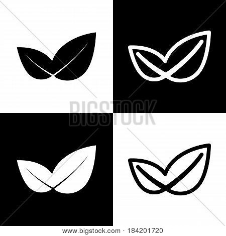 Leaf sign illustration. Vector. Black and white icons and line icon on chess board.