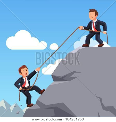 Business man on top of mountain helping colleague or friend climbing up with rope. Leadership, teamwork and partnership. Achieving goals, career development concept. Flat style vector illustration.