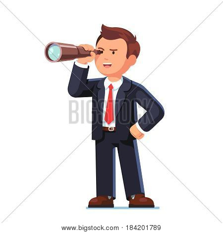 Concentrated businessman looking through the spyglass. Business vision and perspective planning concept. Flat style modern vector illustration isolated on white background.