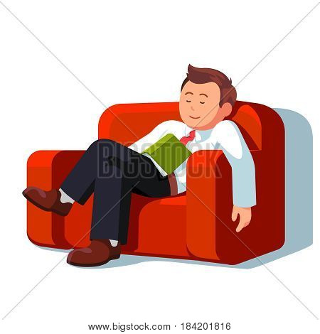 Overworked or tired business man sleeping with book on the couch during break time at work. Exhausted office worker napping at sofa. Flat style modern vector illustration isolated on white background.
