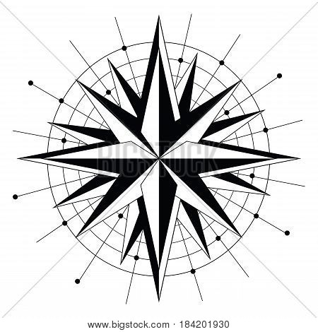 Simple Rose wind directions icon in black and white in geometric style , monochrome star with surrounding circles and dots