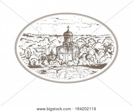Vintage sketch illustration Russian Christian Orthodox church in the village. Panorama landscape with an old temple and a chapel in thicket of trees, sky above the horizon in oval frame