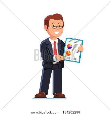 Business man in suit and glasses showing statistical data and economic report on a clipboard. Full-length portrait of office worker. Flat style modern vector illustration isolated on white background.