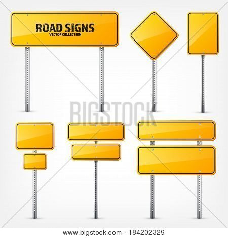 Road yellow traffic sign. Blank board with place for text.Mockup. Isolated information sign. Direction. Vector illustration.