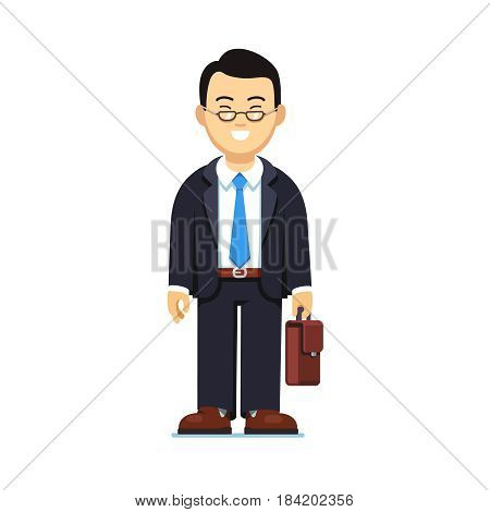Asian black haired business man in suit and glasses standing with suitcase in hands. Full-length portrait of young office worker. Flat style modern vector illustration isolated on white background.