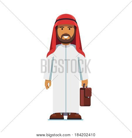 Arabian business man in thobe and ghutra standing with suitcase in hands. Full-length portrait of bearded middle east islamic worker. Flat style modern vector illustration isolated on white background