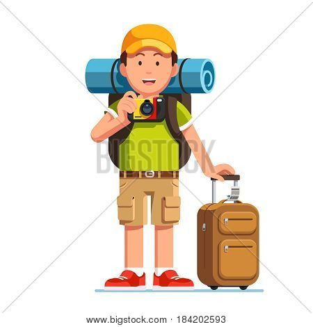 Tourist man standing with luggage and rucksack. Traveller in baseball cap taking photo with camera. Young eurapeam guy go camping. Flat style modern vector illustration isolated on white background.