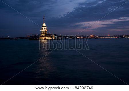 Night Scene, Maiden's Tower in Istanbul, Turkey