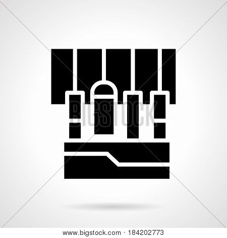 Abstract monochrome symbol of part of audio music mixing console with plugged cords. Sound equipment for stage or studio. Symbolic black glyph style vector icon.