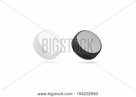 Blank plastic bottle caps mock up set isolated black and white 3d rendering. Empty mineral water lids mockups side view. Fizzy pop circle clear cover design template. Soda drink element