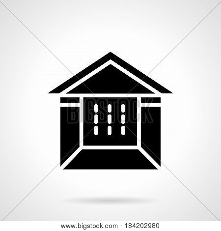 Abstract monochrome symbol of tent booth. Constructions for fair, commercial event, exhibition. Symbolic black glyph style vector icon.