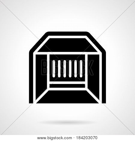 Abstract monochrome symbol of market stall. Constructions for fair, commercial event, exhibition. Symbolic black glyph style vector icon.
