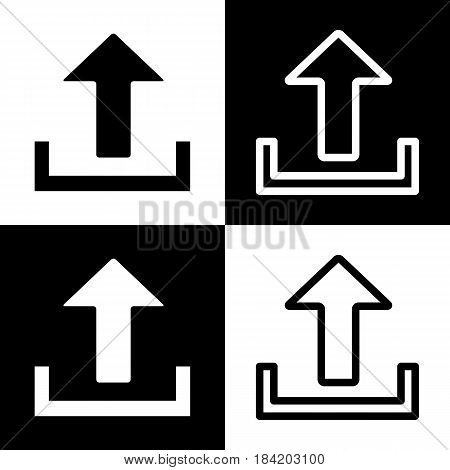 Upload sign illustration. Vector. Black and white icons and line icon on chess board.
