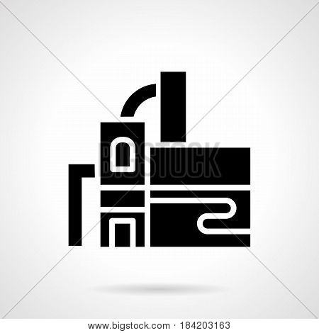Abstract monochrome symbol of distillery plant. Industrial architecture. Symbolic black glyph style vector icon.