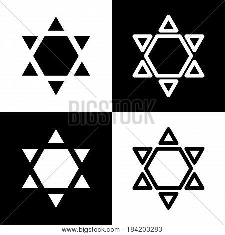 Shield Magen David Star Inverse. Symbol of Israel inverted. Vector. Black and white icons and line icon on chess board.