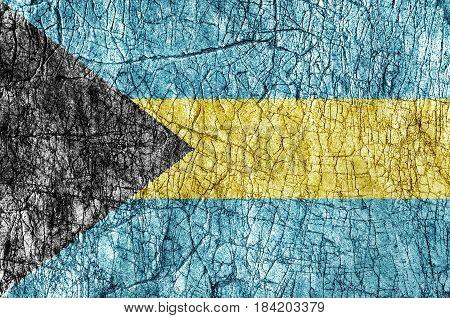 Grudge stone painted Bahamas flag close up