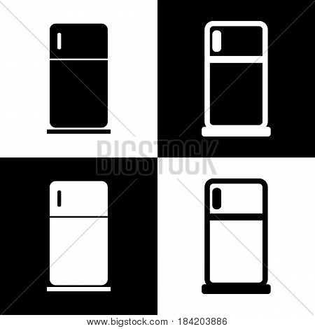 Refrigerator sign illustration. Vector. Black and white icons and line icon on chess board.