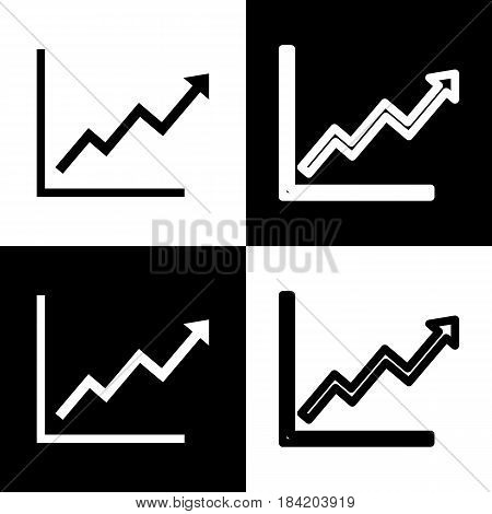 Growing bars graphic sign. Vector. Black and white icons and line icon on chess board.