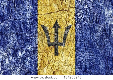 Grudge stone painted Barbados flag close up