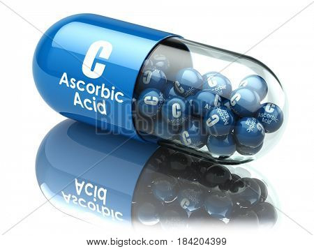 Vitamin C capsule or pill. Ascorbic acid. Dietary supplements. 3d illustration
