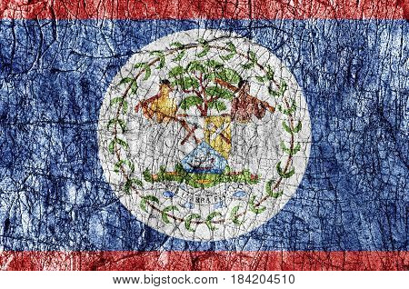 Grudge stone painted Belize flag close up