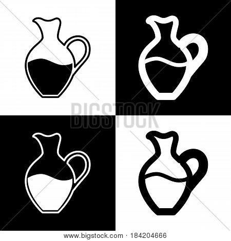 Amphora sign. Vector. Black and white icons and line icon on chess board.