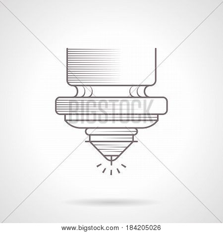 Abstract symbol of laser for high precision cutting. Industrial machines and modern technology. Vintage design vector icon.