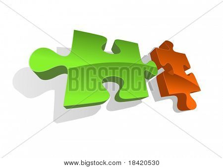 Illustration of two abstract puzzle pieces. Vector in my portfolio poster