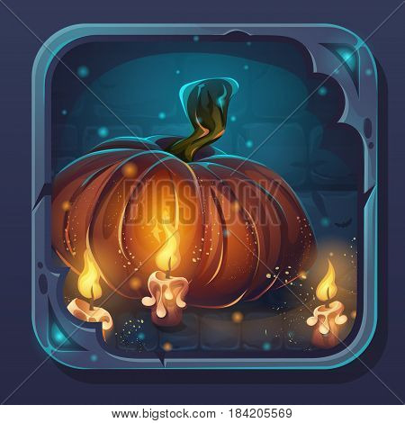 Monster battle GUI icon - cartoon stylized vector illustration pumpkin and candles