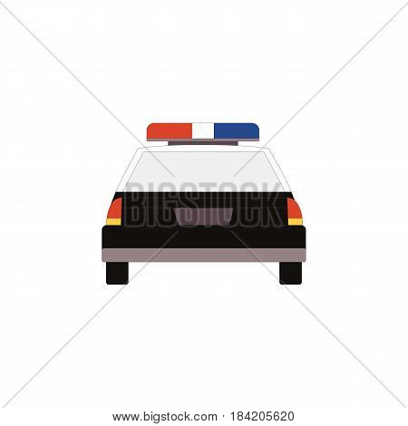 Police car icon back view in flat style for UI UX design. Vector illustration