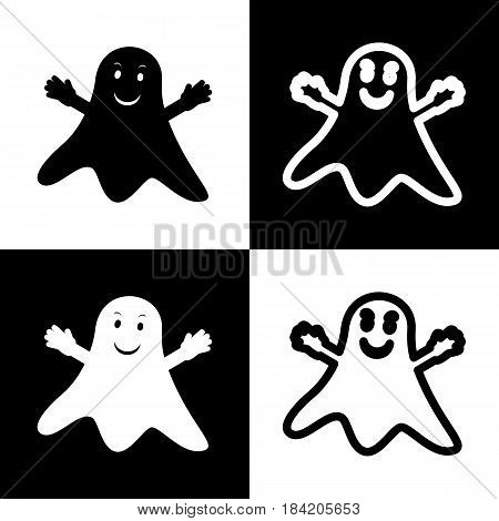 Ghost isolated sign. Vector. Black and white icons and line icon on chess board.