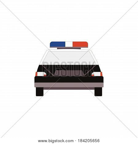 Police car icon front view in flat style for UI UX design. Vector illustration