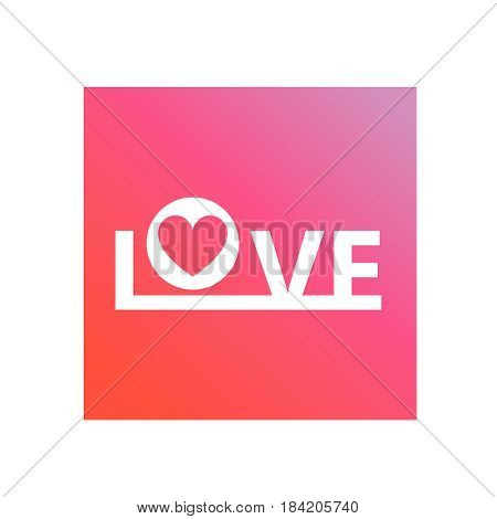 inscription love on a pink background vector.