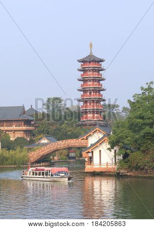 GUILIN CHINA - NOVEMBER 16, 2016: Unidentified people take a river cruise at Folded Brocade Hill.