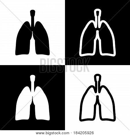 Human anatomy. Lungs sign. Vector. Black and white icons and line icon on chess board.
