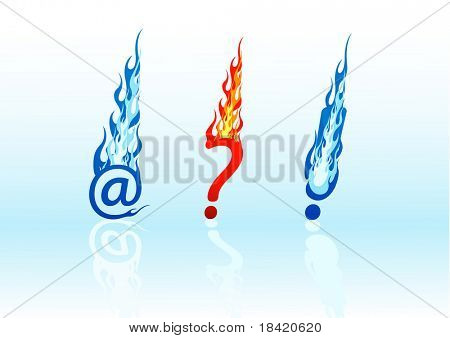 Set of colored fire question marks, exclamation marks, and e-mails. Vector in my portfolio
