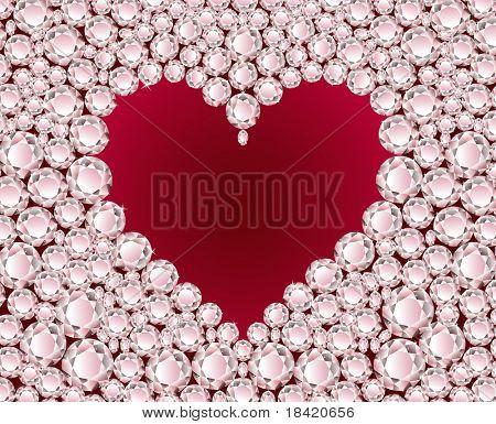 Vector red heart on shiny diamond background