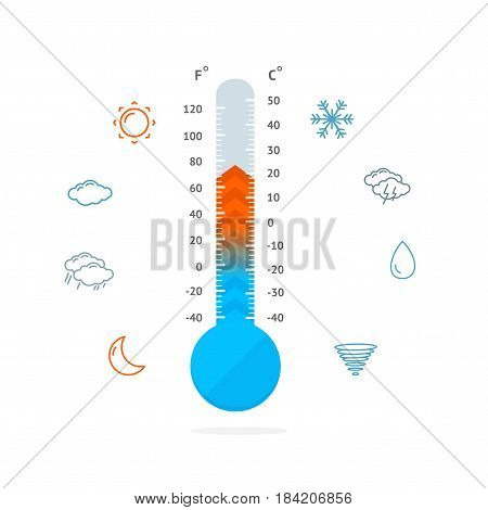 Meteorology Thermometer and Weather Outline Icons Measurement Temperature Symbol Hot or Cold Climate. Vector illustration