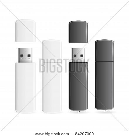 Usb Flash Drive White and Black Open or Close Realistic Memory Portable Device. Vector illustration