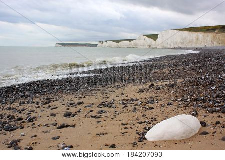 Beach scene at Birling Gap England UK